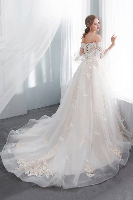 NANCE | Ball Gown Off-the-shoulder Floor Length Appliques Tulle Cheap Wedding Dresses UK_2