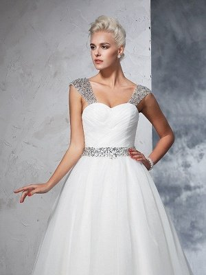 Long Tulle Cheap Ball Gown Straps Ruched Sleeveless Wedding Dresses UK_6