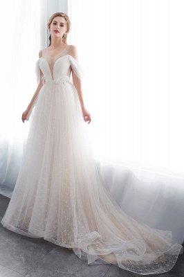 NANCY   A-line Sleeveless Floor Length Lace Ivory Wedding Dresses UK_4