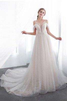 NANCY   A-line Sleeveless Floor Length Lace Ivory Wedding Dresses UK_5