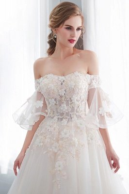 NANCE | Ball Gown Off-the-shoulder Floor Length Appliques Tulle Cheap Wedding Dresses UK_8