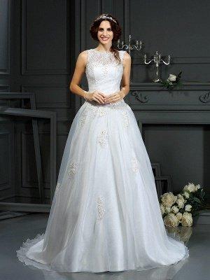 A-Line Scoop Neckline Sleeveless Long Applique Tulle Cheap Wedding Dresses UK_1