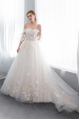 NANCE | Ball Gown Off-the-shoulder Floor Length Appliques Tulle Cheap Wedding Dresses UK_3