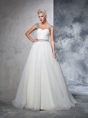 Long Tulle Cheap Ball Gown Straps Ruched Sleeveless Wedding Dresses UK_4