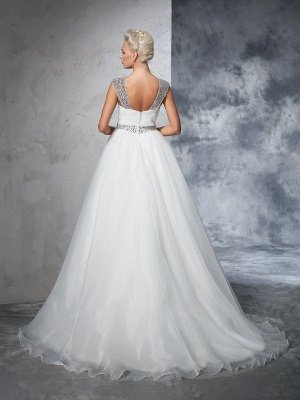 Long Tulle Cheap Ball Gown Straps Ruched Sleeveless Wedding Dresses UK_3