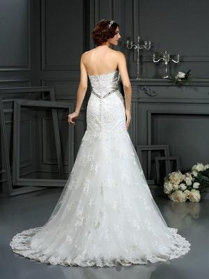 Sexy Mermaid Strapless Sleeveless Beads Long Lace Wedding Dresses UK_2