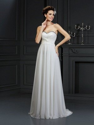 A-Line Sweetheart Sleeveless Ruffles Long  Wedding Dresses UK_1