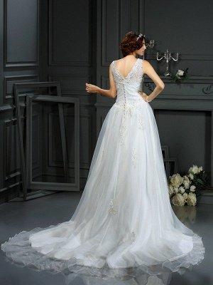 A-Line Scoop Neckline Sleeveless Long Applique Tulle Cheap Wedding Dresses UK_2