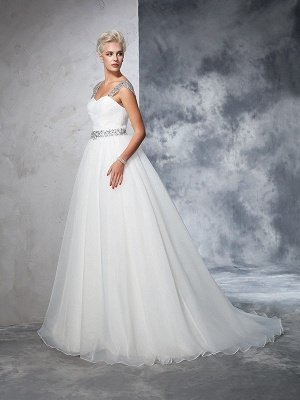 Long Tulle Cheap Ball Gown Straps Ruched Sleeveless Wedding Dresses UK_5