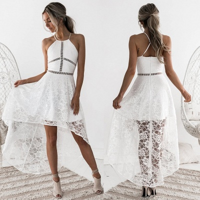 Halter Sleeveless Short Homecoming Dress UK | Lace Party Gowns_7
