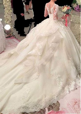 Ball Gown Long Sleeves Appliqued Court Train Wedding Dresses UK_3