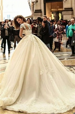 Ball Gown Court Train Appliques Tulle Cheap Wedding Dresses UK with Sleeves_3