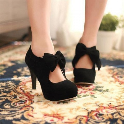 Bow Tie Hollow Stiletto Women's Shoes Round Toe Heel Boots_6