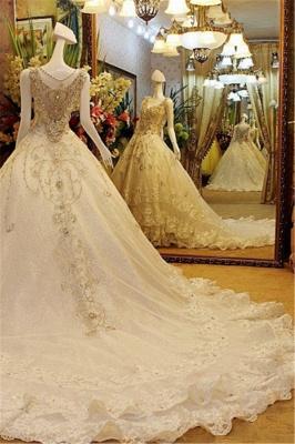 A-line Sleeveless V-neck Crystal Beads Appliqued Lace Wedding Dresses UK_3