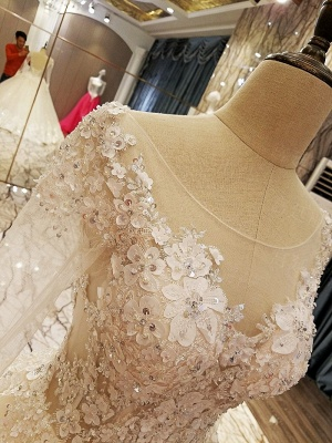 Ball Gown Long Sleeves Appliques Tulle Cheap Lace-up Wedding Dresses UK_6