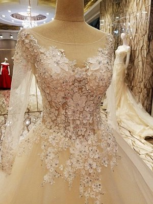 Ball Gown Long Sleeves Appliques Tulle Cheap Lace-up Wedding Dresses UK_3