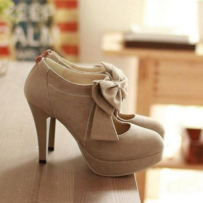 Bow Tie Hollow Stiletto Women's Shoes Round Toe Heel Boots_2