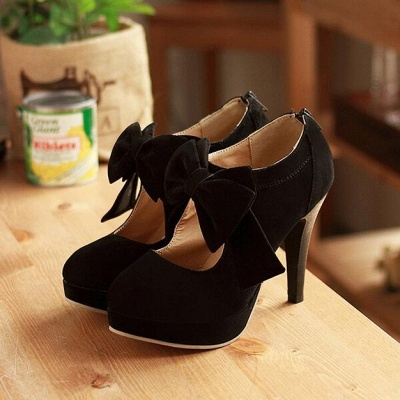 Bow Tie Hollow Stiletto Women's Shoes Round Toe Heel Boots_7