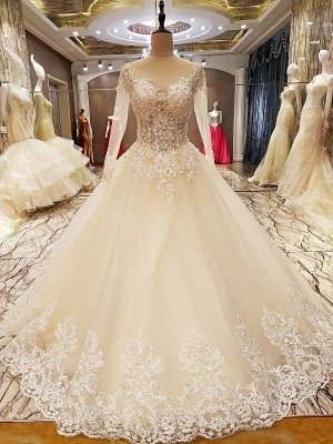Ball Gown Long Sleeves Appliques Tulle Cheap Lace-up Wedding Dresses UK_1