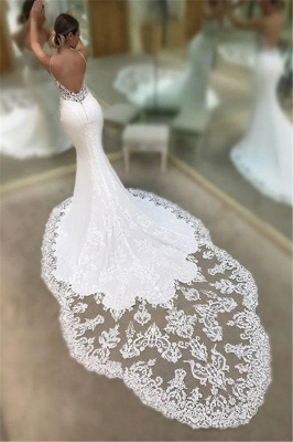 Sexy Mermaid Spaghetti Sleeveless Appliqued Lace Court Train Wedding Dresses UK_3