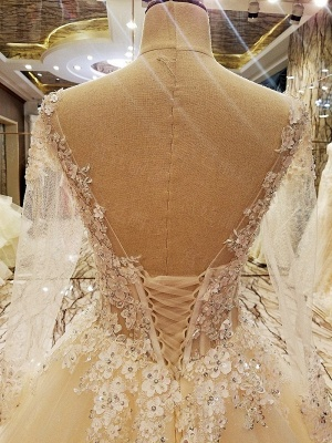Ball Gown Long Sleeves Appliques Tulle Cheap Lace-up Wedding Dresses UK_8