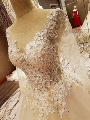 Ball Gown Long Sleeves Appliques Tulle Cheap Lace-up Wedding Dresses UK_12