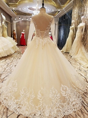 Ball Gown Long Sleeves Appliques Tulle Cheap Lace-up Wedding Dresses UK_9