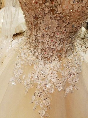 Ball Gown Long Sleeves Appliques Tulle Cheap Lace-up Wedding Dresses UK_7