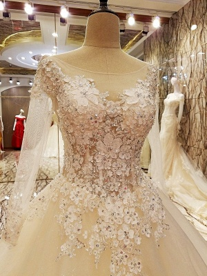 Ball Gown Long Sleeves Appliques Tulle Cheap Lace-up Wedding Dresses UK_5