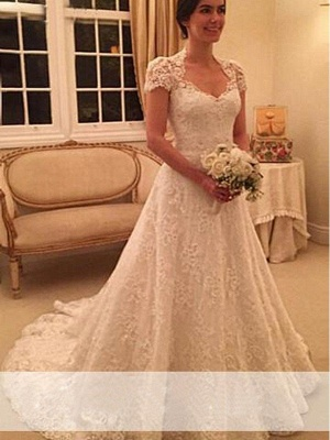 Court Train A-Line Short Sleeves Lace Sweetheart Wedding Dresses UK_1