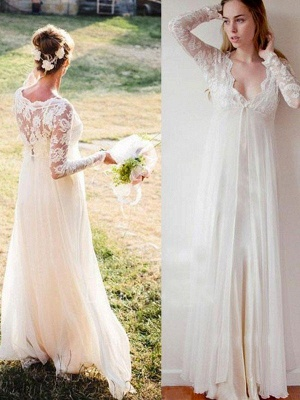 Empire Lace Floor-Length V-neck Long Sleeves Wedding Dresses UK_1
