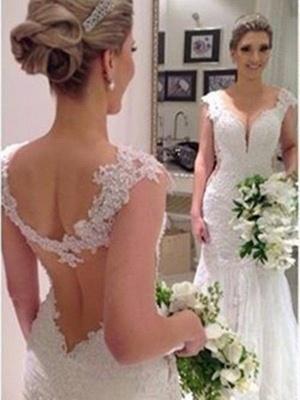 Sleeveless  Sexy Mermaid V-neck Lace Sweep Train Wedding Dresses UK_3