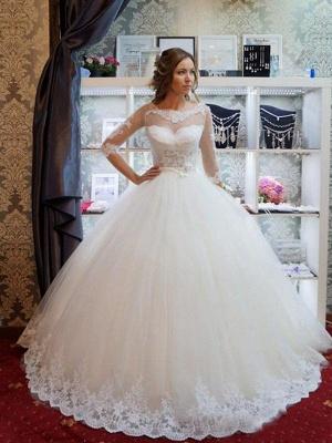 Floor-Length Scoop Neckline Ball Gown 1/2 Sleeves Tulle Applique Wedding Dresses UK_3