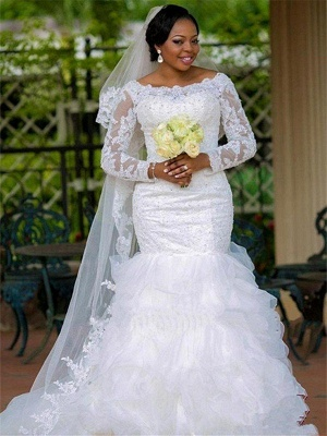Square Sexy Mermaid  Organza Long Sleeves Applique Wedding Dresses UK_1