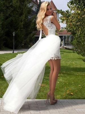 Sheath Scoop Neckline Floor-Length Lace Tulle Cheap Sleeveless Wedding Dresses UK_3