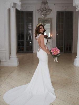 Sexy Mermaid Sweep Train Applique Lace Sleeveless Scoop Neckline Wedding Dresses UK_3
