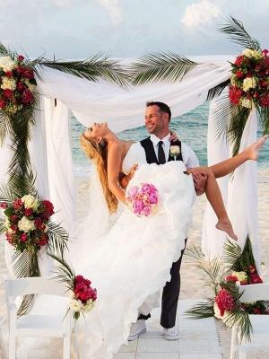 Asymmetrical Organza A-Lines Sleeveless Sweetheart Wedding Dresses UK_3