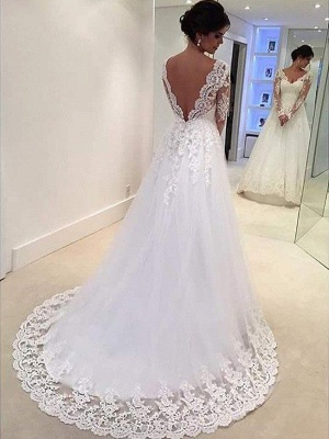 V-neck Ball Gown Tulle Cheap Lace Long Sleeves Court Train Wedding Dresses UK_3
