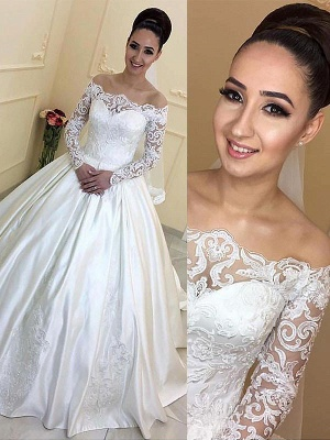 Off-the-Shoulder Court Train Ball Gown Satin Long Sleeves Wedding Dresses UK_1