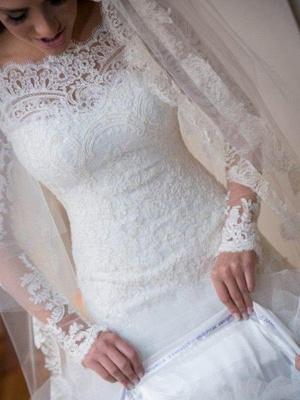 Off-the-Shoulder Sexy Mermaid Lace Tulle Long Sleeves Sweep Train Applique Wedding Dresses UK_6