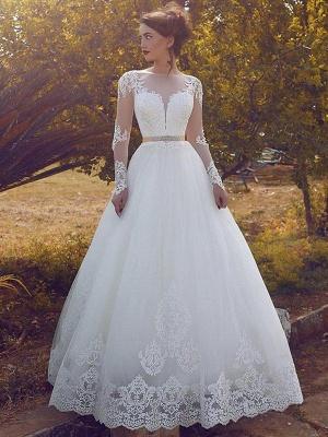 Tulle Cheap Floor-Length Ball Gown Long Sleeves Bateau Wedding Dresses UK_1
