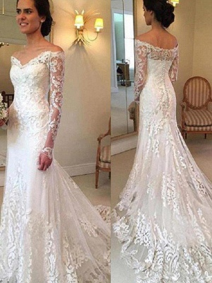 Court Train Applique Lace Sexy Mermaid Long Sleeves Off-the-Shoulder Wedding Dresses UK_2