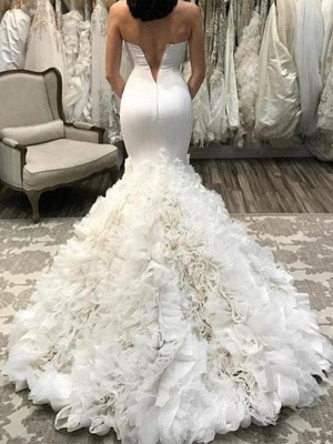 Organza Sexy Mermaid Sleeveless Court Train Sweetheart Wedding Dresses UK_3