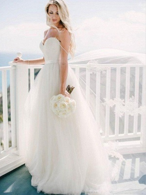 Sweep Train Ball Gown Sleeveless Tulle Cheap Sweetheart Wedding Dresses UK_4