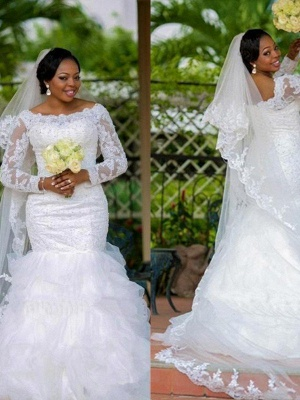 Square Sexy Mermaid  Organza Long Sleeves Applique Wedding Dresses UK_4