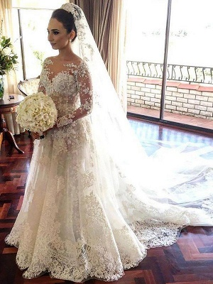 Bateau Tulle Cheap A-Line Lace Long Sleeves  Wedding Dresses UK_1