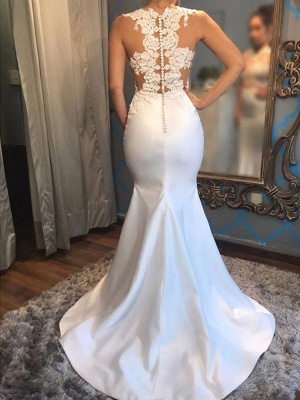 Satin Sexy Mermaid Scoop Neckline Sleeveless Applique Court Train Wedding Dresses UK_4