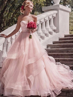 Court Train Layers Ball Gown Sleeveless Organza Sweetheart Wedding Dresses UK_1