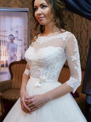 Floor-Length Scoop Neckline Ball Gown 1/2 Sleeves Tulle Applique Wedding Dresses UK_4
