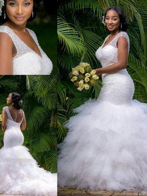 Sexy Mermaid Cathedral Train Organza  V-Neck Sleeveless Wedding Dresses UK_4
